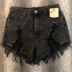 Washed Black Fray Denim Shorts